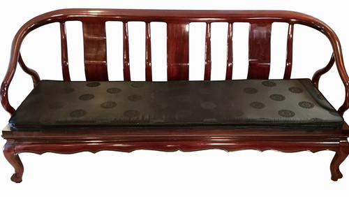 Oriental Couch Rosewood With Silk Cushion Opens To Daybed