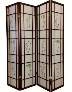 Folding room divider four panels Asian design