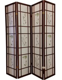 folding room divider four panels asian design