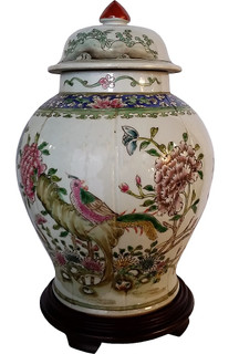 Chinese Ceramic  Carved Melon Jar