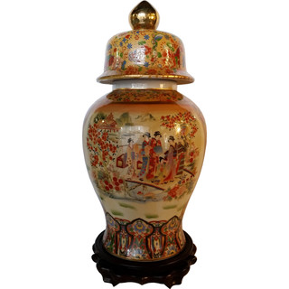 "Asian Ceramic Jar 24"" H Geisha Porcelain Art"
