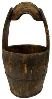 Chinese Wooden Water Bucket Restored Antique