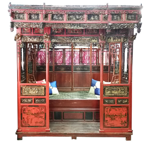 Chinese wedding bed antique qing dynasty oriental for Asian wedding bed decoration