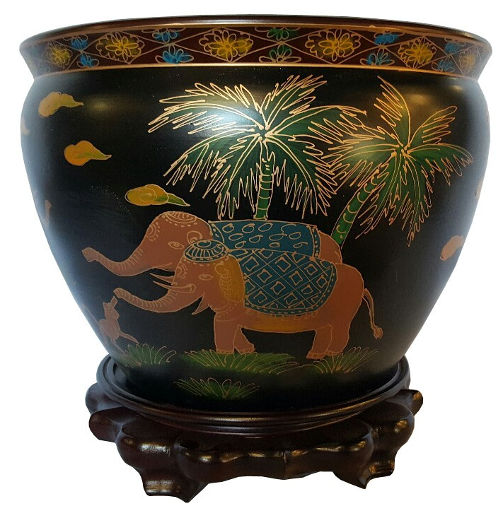 Chinese Black Lacquer Planter Indian Elephant Design