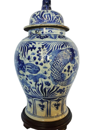 Chinese Porcelain Jar Hand Glazed Blue And White Coy Fish
