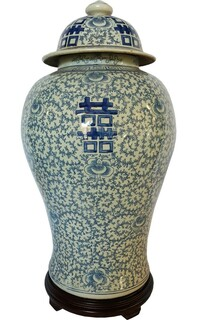 Chinese Blue and White Lidded Jar with Chinese Longevity Symbol