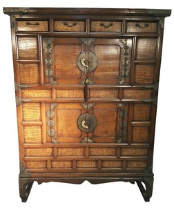 Korean Antique Chest on Chest with chestnut Root Burlwood