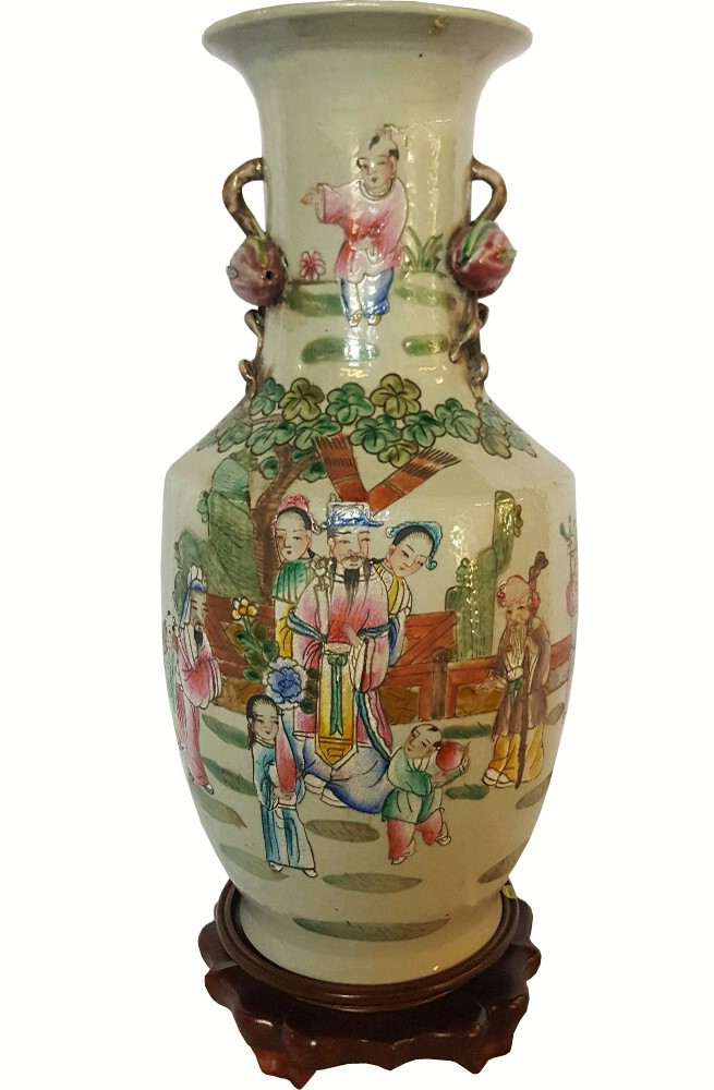 Chinese Porcelain Peach Handle Vase With Antique Finish Oriental