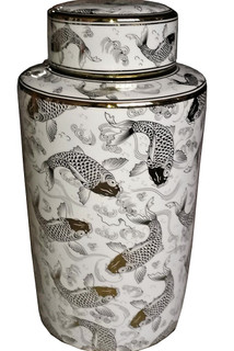 Porcelain Canister with Flowing Waters