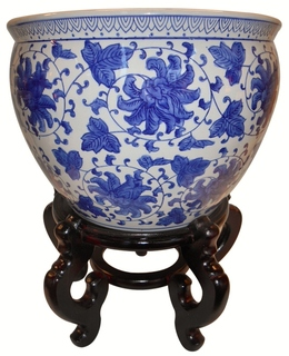 "20"" Blue and White Large Porcelain Jardiniere For Indoor Or Outdoor Use"