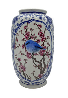 "Porcelain Flower Vase with Blue Bird Panels and Chinese Blue and White 12"" High"
