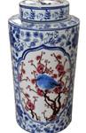 Red white and blue bird jar