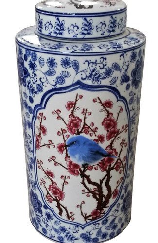 Red white and blue bird jar