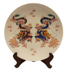 "Chinese Porcelain Plate is 14 "" Diameter with Dragon Painting in white and multi colors"