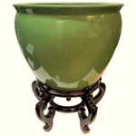 Chinese Green Fishbowl Planter