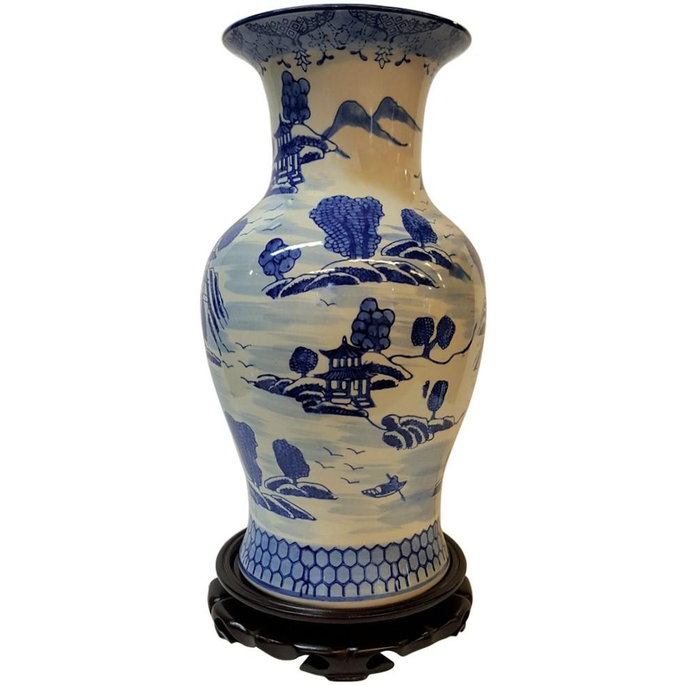 Oriental Furniture 14 Floral Blue /& White Porcelain Elephant Stool