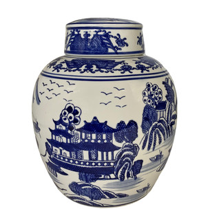 "Chinese 9"" Ginger Jar In Export Blue and White Porcelain Landscape"