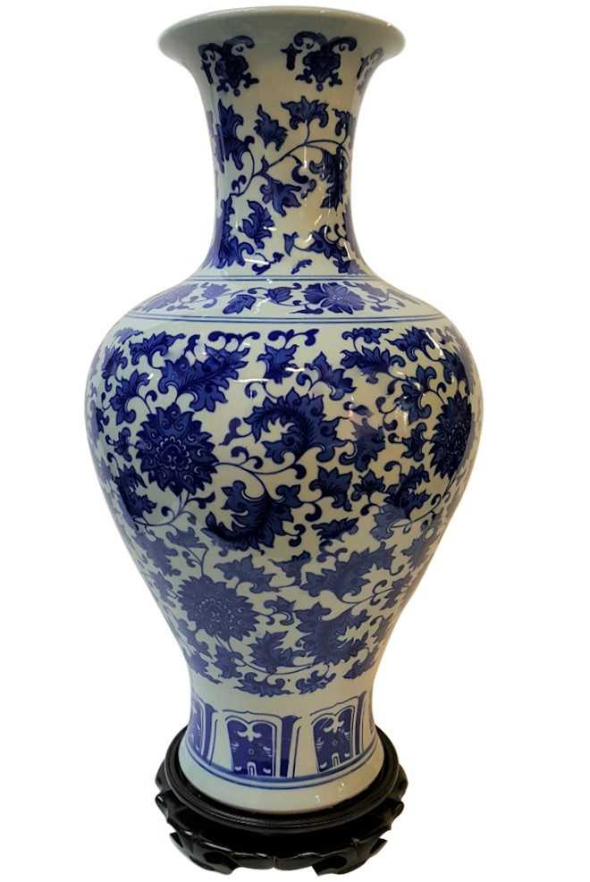 Chinese Blue And White Trumpet Vase With Floral Decoration