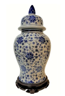 "Mod Blue and White 18"" High Temple Jar with Art Deco Floral"