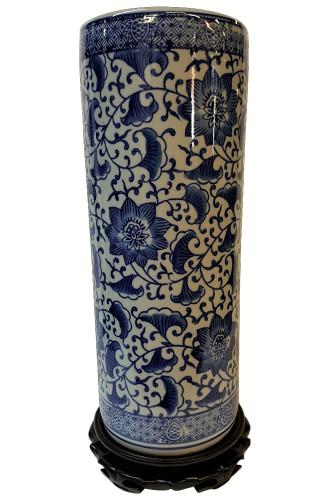 Blue and White Canister Vase