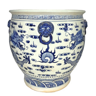 Chinese Blue and White Dragon Porcelain Planter with Carved Lion Handle