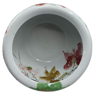 Taiwan Brush Painted Porcelain Planter with Water Lily Design