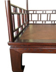 Chinese canopy bed, lattice carved solid elm wood