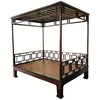 Chinese canopy bed lattice carved solid elm wood  sc 1 st  Oriental Furnishings & Chinese canopy bed lattice carved solid elm wood - Oriental ...