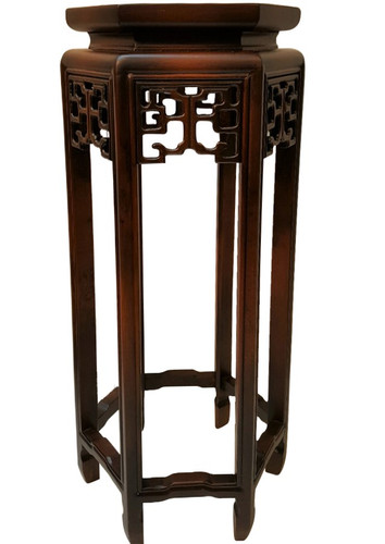 Chinese hexagonal plant stand with carving in 24 high for Oriental furniture australia