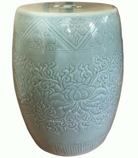 Chinese Carved Porcelain Stool in Celadon Glaze with Lotus Flower