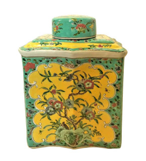Chinese Jar in Yellow Glaze with Floral Hand Painting.