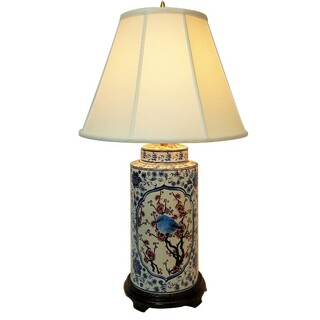 Porcelain Table Lamp in Chinese Blue and White Bird and Flower Painting with Shade