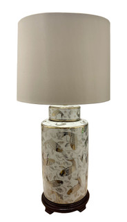 Chinese Table Lamp in Silver Koi  Fish on White Porcelain with Modern Drum Shade