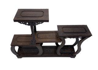 Asian Wooden Display Stand with Step Shelf For Miniatures