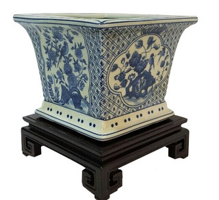 Square Planter in Blue and White Floral Porcelain
