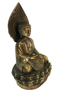 Bronze Buddha Sitting on Lotus Flower with Halo