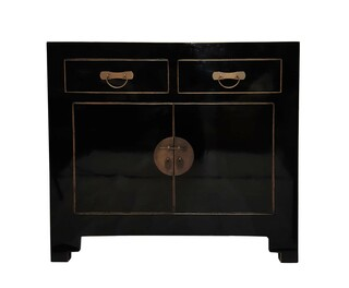 "Chinese Wooden Cabinet with Round Brass in 38"" Width"