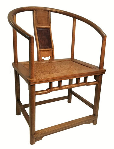 Chinese Chair With Rattan Seat And Round Back