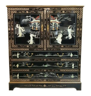 Oriental Headboards In Lacquered Gold Leaf With Mother Of