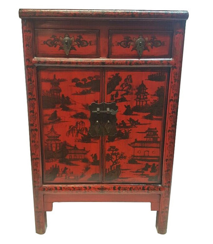 Merveilleux Chinese Antique Red Shoe Cabinet With Landscape Painting.