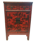 Chinese Antique Red Shoe Cabinet with Landscape Painting.