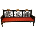 Chinese Sofa Carved Lattice in Black Lacquer