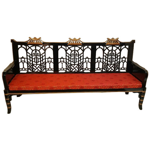 Superieur Chinese Sofa Carved Lattice In Black Lacquer