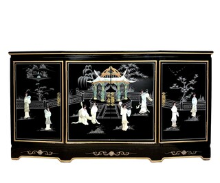 "60"" Chinese Black Lacquer Buffet with Mother of Pearl Lady Design."