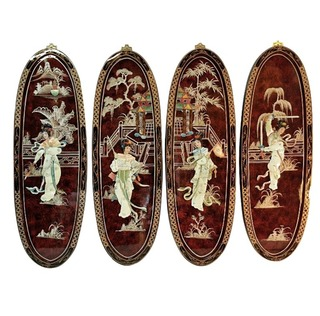 Chinese Art Panels Inlaid Mother Of Pearl In Red and Black Lacquer