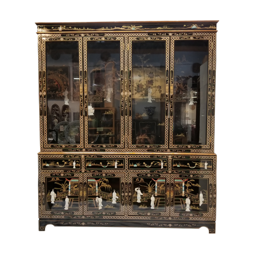 "China Cabinet in 72"" Wide with Black Lacquer and Inlaid Mother Of Pearl"