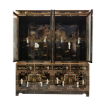 """China Cabinet in 72"""" Wide with Black Lacquer and Inlaid Mother Of Pearl"""