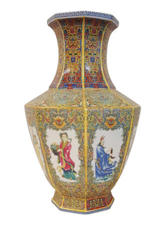 Chinese Porcelain Vase in Yellow with Eight Immortals