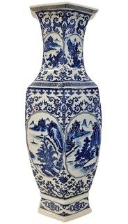 "Porcelian Landscape Vase in Chinese Blue and White 24"" H"