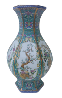 Teal Blue Chinese Porcelain Vase